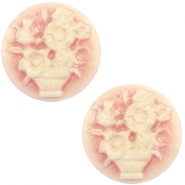 Cabochons basic camee 20mm boeket Vintage rose-antique gold