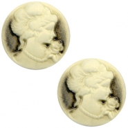 Cabochons basic camee 20mm Black-antique gold
