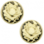 Cabochons basic camee 12mm roos Black-antique gold