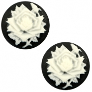 Cabochons basic camee 20mm roos Black-white