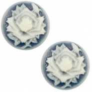 Cabochons basic camee 20mm roos Dark blue-off white