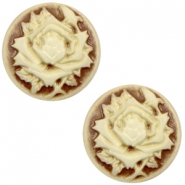 Cabochons basic camee 12mm roos Brown-antique gold