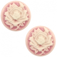 Cabochons basic camee 20mm roos Vintage pink-off white