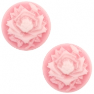 Cabochons basic camee 12mm roos Pink-white