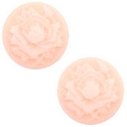Cabochons basic camee 12mm roos Light pink-off white