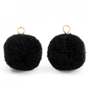 Bedels pompom met oog 15mm Black-gold