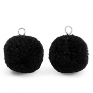 Bedels pompom met oog 15mm Black-silver