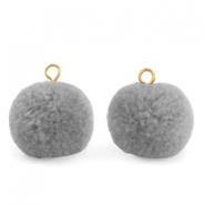 Bedels pompom met oog 15mm Grey-gold