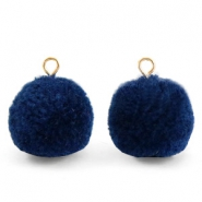 Bedels pompom met oog 15mm Nightshadow blue-gold