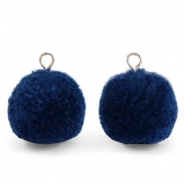 Bedels pompom met oog 15mm Nightshadow blue-silver