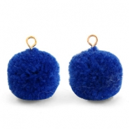 Bedels pompom met oog 15mm Egyptian blue-gold