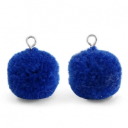 Bedels pompom met oog 15mm Egyptian blue-silver