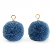 Bedels pompom met oog 15mm Dark glaucous blue-gold
