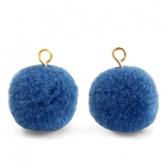Bedels pompom met oog 15mm Glaucous blue-gold