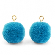 Bedels pompom met oog 15mm Light cerulean blue-gold