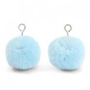 Bedels pompom met oog 15mm Light blue-silver
