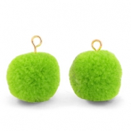 Bedels pompom met oog 15mm Dark lime green-gold