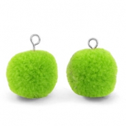 Bedels pompom met oog 15mm Dark lime green-silver