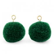 Bedels pompom met oog 15mm Dark green-gold