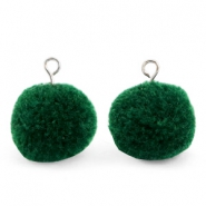 Bedels pompom met oog 15mm Dark green-silver