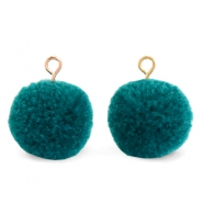 Bedels pompom met oog 15mm Green zircon-gold