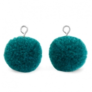 Bedels pompom met oog 15mm Green zircon-silver