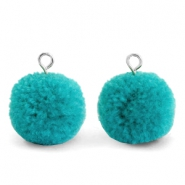Bedels pompom met oog 15mm Jungle green-silver
