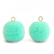 Bedels pompom met oog 15mm Turquoise green-gold