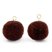 Bedels pompom met oog 15mm Dark brown-gold
