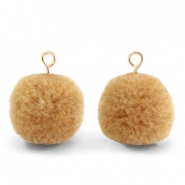 Bedels pompom met oog 15mm Hazelnut brown-gold