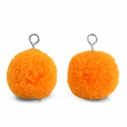 Bedels pompom met oog 15mm Pumpkin orange-silver