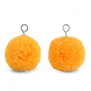 Bedels pompom met oog 15mm Brilliant orange-silver