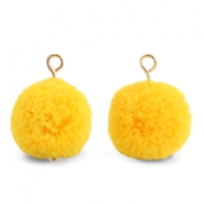 Bedels pompom met oog 15mm Sunrise warm yellow-gold