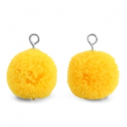 Bedels pompom met oog 15mm Sunrise warm yellow-silver