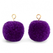 Bedels pompom met oog 15mm Indigo purple-gold