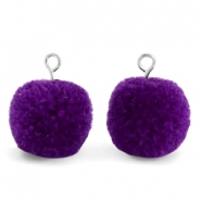Bedels pompom met oog 15mm Indigo purple-silver