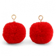 Bedels pompom met oog 15mm Scarlet red-gold