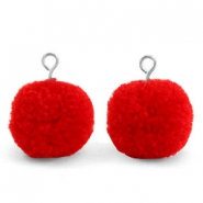 Bedels pompom met oog 15mm Scarlet red-silver