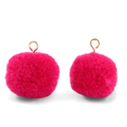 Bedels pompom met oog 15mm Cherish pink-gold