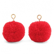 Bedels pompom met oog 15mm Dark coral red-gold