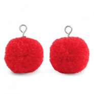 Bedels pompom met oog 15mm Dark coral red-silver