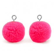 Bedels pompom met oog 15mm Hot neon pink-silver