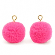 Bedels pompom met oog 15mm Bright pink-gold