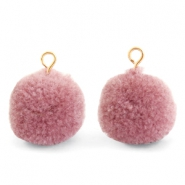 Bedels pompom met oog 15mm Dark vintage pink-gold