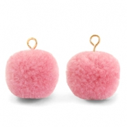 Bedels pompom met oog 15mm Rouge pink-gold