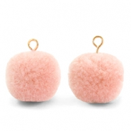 Bedels pompom met oog 15mm Salmon pink-gold