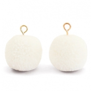 Bedels pompom met oog 15mm Floral white-gold