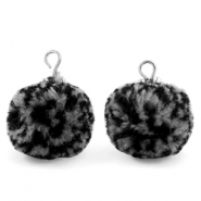 Bedels pompom met oog 15mm Black grey-silver