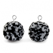 Bedels pompom met oog 15mm Black white-silver