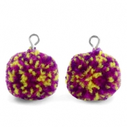 Bedels pompom met oog 15mm Purple yellow-silver